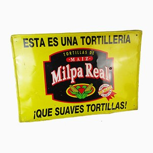 Vintage Industrial Milpa Real Steel Sign, 1970s