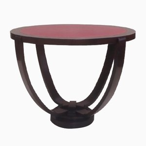 Art Deco Aniline Leather and Palisander Coffee Table, 1920s