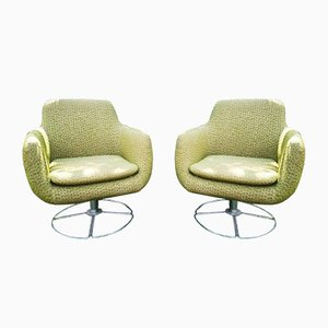 Fabric and Metal Swivel Chairs, 1960s, Set of 2