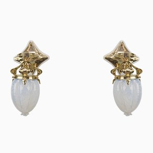 Antique Art Nouveau Brass and Opaline Glass Sconces, 1908, Set of 2