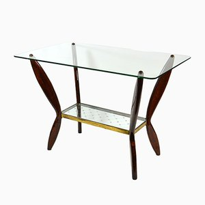 Mid-Century Italian Glass and Wood Coffee Table, 1950s