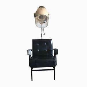 Sedia da parrucchiere Mid-Century in pelle e metallo, anni '60