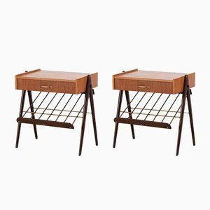 Mid-Century Birch and Teak Nightstands, Set of 2