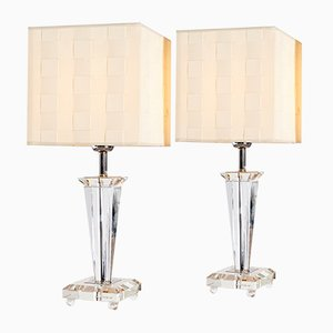 Art Deco French Glass Table Lamp from Le Dauphin, 1980s