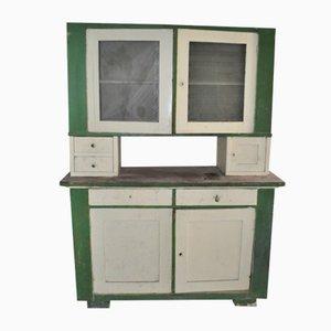 Alacena vintage de vidrio y madera pintada, años 30