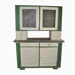 Dispensa vintage in vetro e legno dipinto, anni '30