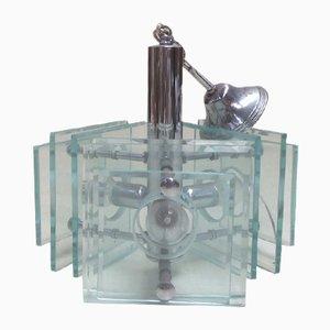 Italienischer Kronleuchter aus verchromtem Metall & geschliffenem Glas von Fontana Arte, 1970er