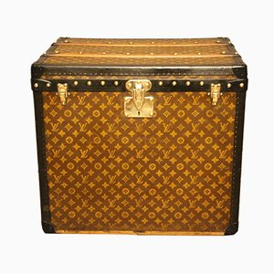 Art Deco French Brass and Canvas Hat Trunk from Louis Vuitton, 1930s