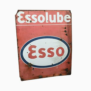 Cartel de Esso francés industrial vintage de hierro, años 20