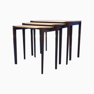 Tavolini ad incastro antroposofici in teak di Rex Raab per Wilhelm Renz, anni '60