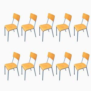 Industrielle Esszimmerstühle aus Buche und Eisen, 1960er, 10er Set