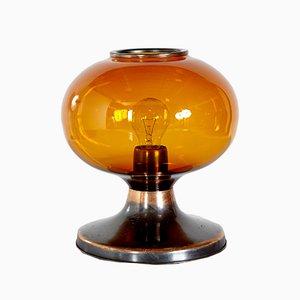 Lámpara de mesa vintage de vidrio y metal ámbar, años 70