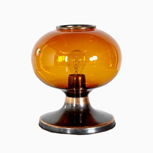 Vintage Amber Glass & Metal Table Lamp, 1970s