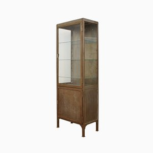 Art Deco Industrial German Antiqued Glass and Babbitt Cupboard, 1930s