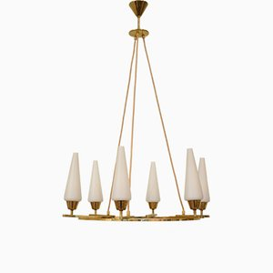 German Brass and Opaline Glass Chandelier from Vereinigte Werkstätten Collection, 1970s