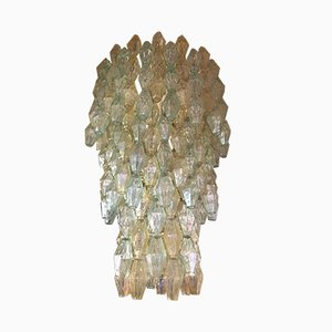 Italian Iron and Hand-Blown Glass Polyhedra Chandelier by Carlo Scarpa for Venini, 1960s