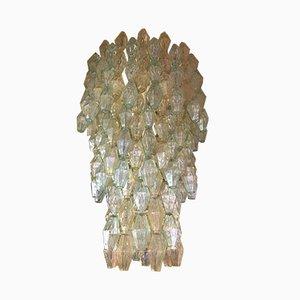 Italienischer Kronleuchter mit mundgeblasenen polyederförmigen Glasanhängern & Eisenrahmen von Carlo Scarpa für Venini, 1960er