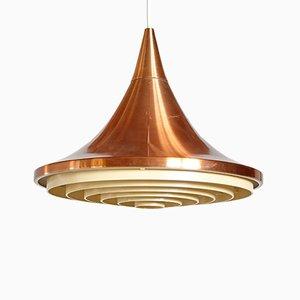 Lámpara colgante vintage en forma de embudo de cobre, años 70