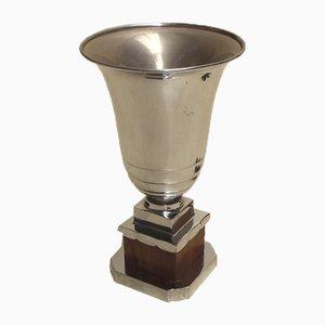 Lámpara de mesa francesa Art Déco de latón, bronce y palisandro, años 20