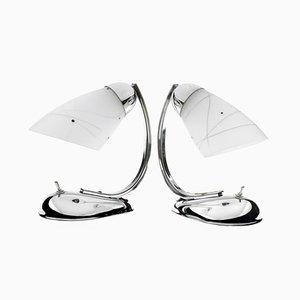Czech Chrome & Glass Table Lamps by Josef Hurka for Napako, 1940s, Set of 2