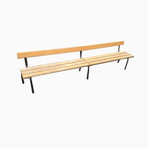 Mid-Century French Beech & Iron School Bench from Mullca, 1960s