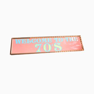 Large Vintage Flashing Pink Sign