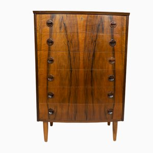 Rosewood Bow-Fronted Chest of Drawers by Kai Kristiansen, 1960s