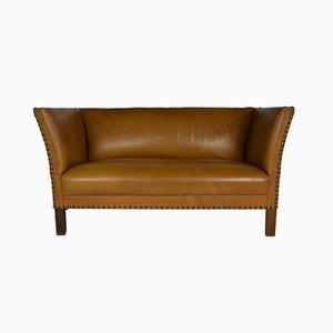 Dänisches Sofa mit karamellfarbenem Bezug aus Nappaleder, 1940er