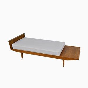Chaise longue de tela y madera de Pierre Paulin, años 70