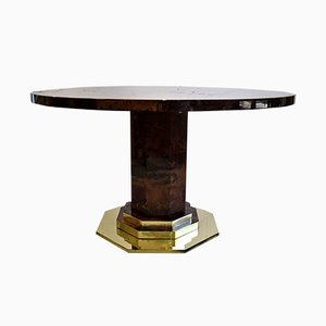 Italian Brass & Goat Skin Dining Table by Aldo Tura, 1950s