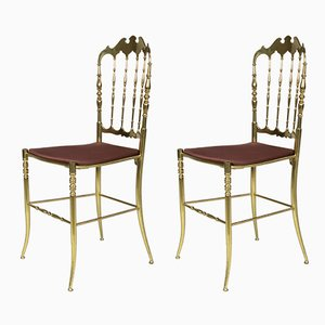 Italian Solid Brass Chiavari Chairs, 1960s, Set of 2