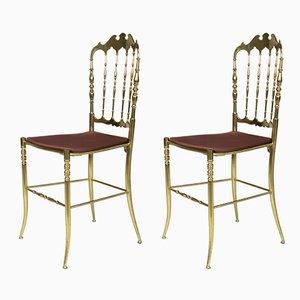 Italienische Chiavari Stühle aus massivem Messing, 1960er, 2er Set