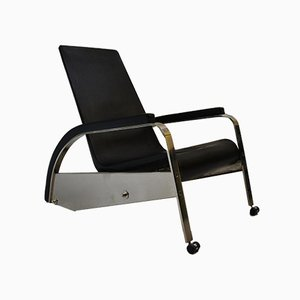 German Chrome Plating and Leather Armchair by Jean Prouvé for Tecta, 1980s