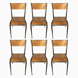 Industrial French Beech and Iron 510 Chairs from Mullca, 1950s, Set of 6
