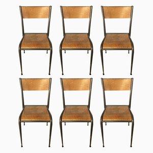 Industrielle französische 510 Stühle aus Buche & Eisen von Mullca, 1950er, 6er Set