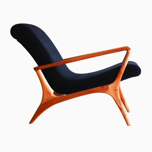 Mid-Century Teak & Velour Contour Lounge Chair by Vladimir Kagan, 1953
