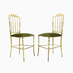 Regency Style Brass Chiavari Side Chairs, 1970s, Set of 2
