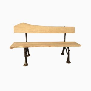 Industrial French Beech and Cast Iron Bench, 1950s