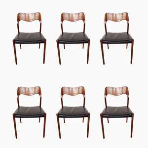 Nr.71 Esszimmerstühle mit Sitz aus Leder & Gestell aus Teak von Niels Otto Møller für J.L. Møllers, 1960er, 6er Set