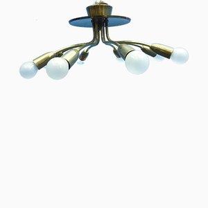 Lampada da soffitto Sputnik Mid-Century in ottone e metallo, Germania, anni '50