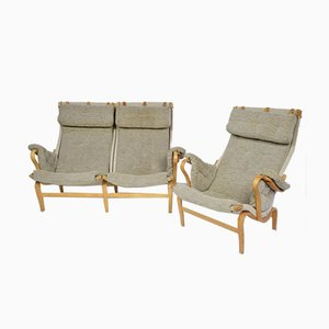 Swedish Pernilla Settee with Matching Chair by Bruno Mathssons for Dux, 1970s