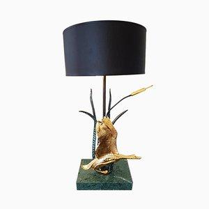 Lampada da tavolo in ottone e marmo di L. Galeotti, Italia, anni '70