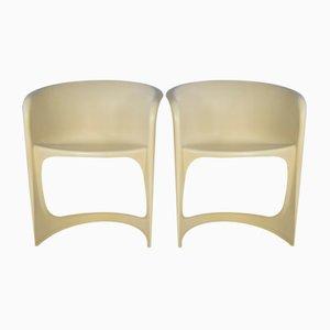 Sillas era espacial de plástico blanco de Steen Ostergaard para Cado, años 70. Juego de 2