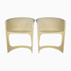 Space Age White Plastic Chairs by Steen Ostergaard for Cado, 1970s, Set of 2