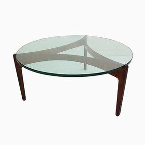 Tavolino da caffè in vetro e palissandro di Sven Ellekaer per Christian Linneberg, Danimarca, anni '60