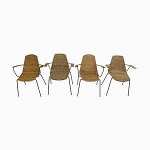 Sedie in metallo e vimini di Gian Franco Legler, anni '50, set di 4