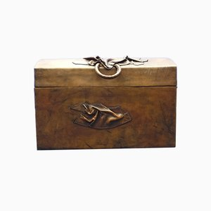 Cajonera Art Déco vintage de cuero y madera