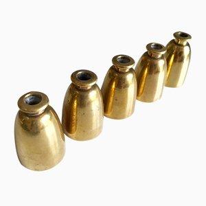 Brass Candleholders by Hans-Agne Jakobsson for Markaryd, 1960s, Set of 5