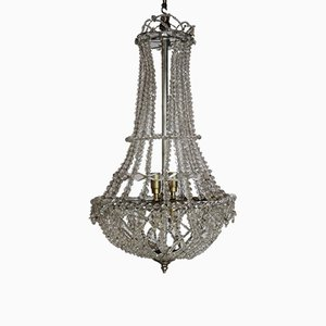 Mid-Century French Crystal Chandelier, 1940s