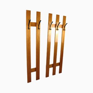 Wood and Anodized Aluminum Coat Racks, 1960s, Set of 2